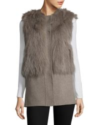 Pologeorgis - Natural Fox Fur & Wool Vest - Lyst