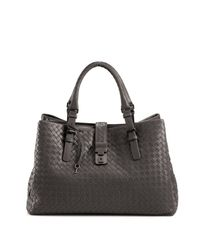 Bottega Veneta - Gray Roma Medium Intrecciato Leather Satchel - Lyst