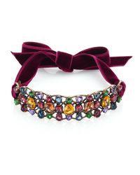 Lanvin - Multicolor Crystal & Velvet Choker - Lyst
