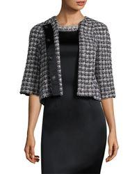 St. John - Black 3/4-sleeve Soft Plaid Jacket - Lyst