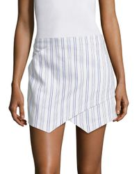 BCBGMAXAZRIA | White Asymmetrical Striped Mini Skirt | Lyst