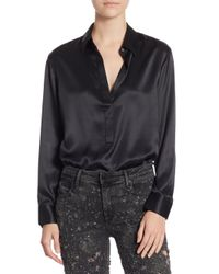 T By Alexander Wang - Black Long Sleeve Blouse Bodysuit - Lyst