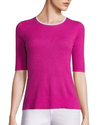 Saks Fifth Avenue | Pink Contrast Trim Lightweight Cashmere Sweater | Lyst