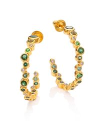 Gurhan - Metallic Pointelle Diamond, Multi-stone & 24k Yellow Gold Hoop Earrings/1 - Lyst