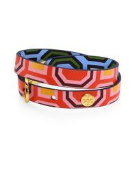 Tory Burch - Multicolor Printed Reversible Double-wrap Bracelet - Lyst