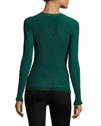 MILLY - Green Ruffle Crewneck Sweater - Lyst