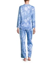 Oscar de la Renta - Blue Printed Cotton Sateen Pajama Set - Lyst