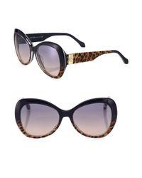 Roberto Cavalli - Multicolor 56mm Leopard-print Butterfly Sunglasses - Lyst