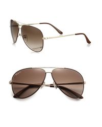 Ferragamo - Brown Classic Aviator 60mm Sunglasses for Men - Lyst
