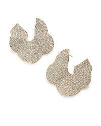 Adriana Orsini - Metallic Pave Crystal Flower Hoop Earrings/1.25 - Lyst