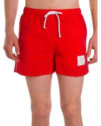 Thom Browne - Red Classic Swim Trunks for Men - Lyst