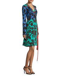 Diane von Furstenberg - Blue Printed Silk Wrap Dress - Lyst