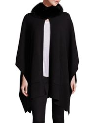 Sofia Cashmere - Black Fox Fur & Cashmere Cape - Lyst
