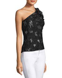 Rebecca Taylor - Black One-shoulder Glitter Top - Lyst