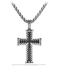 David Yurman - Metallic Chevron Cross With Black Diamonds for Men - Lyst