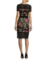 Tadashi Shoji | Black Floral Neoprene Knee-length Dress | Lyst