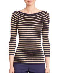 Michael Kors - Metallic Striped Merino Wool Boatneck Sweater - Lyst