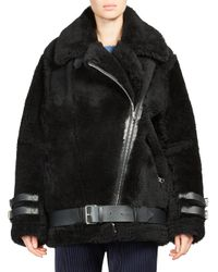 Acne - Black Velocite Shear Lamb Fur Jacket - Lyst