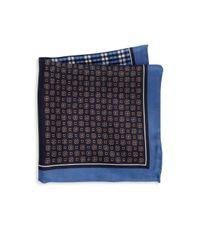 Saks Fifth Avenue - Blue Four-panel Silk Pocket Square for Men - Lyst