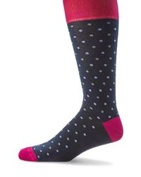 Saks Fifth Avenue - Blue Colorblock Dotted Socks - Lyst