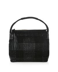 Tory Burch | Black Taylor Woven Leather Hobo | Lyst