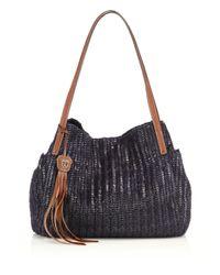 Eric Javits Blue Aura Woven Metallic Tote Bag
