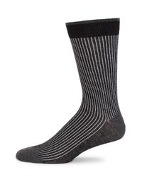 Saks Fifth Avenue - Black Cotton Ribbed Knit Socks for Men - Lyst