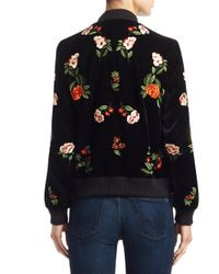 Alice + Olivia - Black Lonnie Cropped Bomber Jacket - Lyst