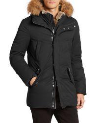 Mackage - Black Real Fur Trim Hooded Down Jacket for Men - Lyst