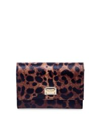 53cf35c7919a Lyst - Dolce & Gabbana Leopard-print Leather French Flap Wallet in Blue