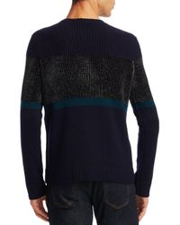 Emporio Armani - Blue Chenille Crewneck Colorblock Wool Sweater for Men - Lyst