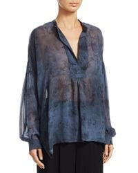 Vince - Blue Watercolor Shirred Silk Blouse - Lyst