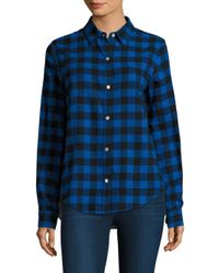CLU | Blue Checkered Contrast Back Cotton Button-down Shirt | Lyst