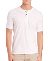 Vince - White Short-sleeve Cotton Henley for Men - Lyst