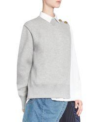Sacai - Gray Combo Sweatshirt - Lyst