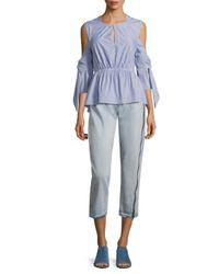 3.1 Phillip Lim - Blue Striped Cold-shoulder Peplum Shirt - Lyst