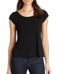 Eileen Fisher | Black Cap-sleeve Tee | Lyst