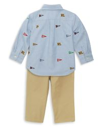 Ralph Lauren - Blue Baby Boy's Three-piece Embroidered Oxford Shirt, Chino & Belt Set for Men - Lyst