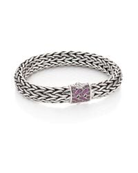John Hardy - Metallic Classic Chain Pink Sapphire & Sterling Silver Large Bracelet - Lyst