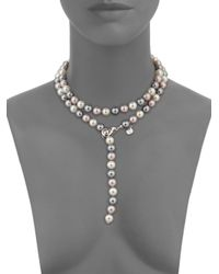 """Majorica - Metallic 10mm Multicolor Round Pearl & Sterling Silver Strand Necklace/35"""" - Lyst"""