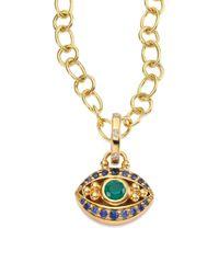 Temple St. Clair - Metallic Evil Eye Diamond, Emerald, Blue Sapphire & 18k Yellow Gold Pendant - Lyst
