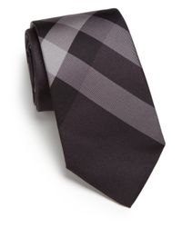 Burberry - Gray Smoked Check Silk Tie for Men - Lyst