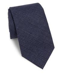 Brunello Cucinelli - Blue Houndstooth Silk Tie for Men - Lyst