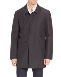 Isaia - Black Solid Wool Blend Overcoat for Men - Lyst