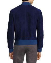 Paul Smith - Blue Multi-zip Suede Jacket for Men - Lyst
