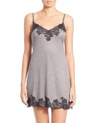 Natori - Gray Josie Charlize Lace Embroidered Chemise - Lyst