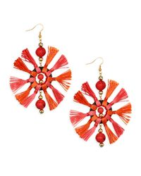 Kenneth Jay Lane - Red Two-tone Multi-tassel Fishhook Earrings - Lyst