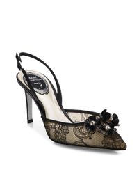 Rene Caovilla - Black Embellished Lace & Snakeskin Slingbacks - Lyst