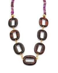 Nest - Purple Agate & Ebony Wood Link Long Necklace - Lyst