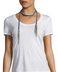 Chan Luu - Blue Chain-trim Embroidered Denim Neck Tie - Lyst